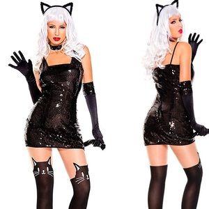 Sexy Sequin Cat Halloween Costume ML